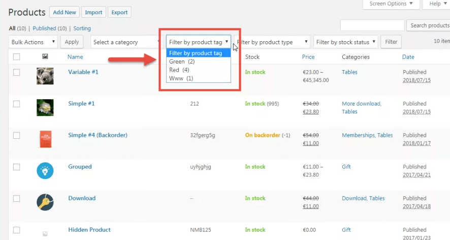 Add Custom Taxonomy Filter WooCommerce Products Admin Dashboard