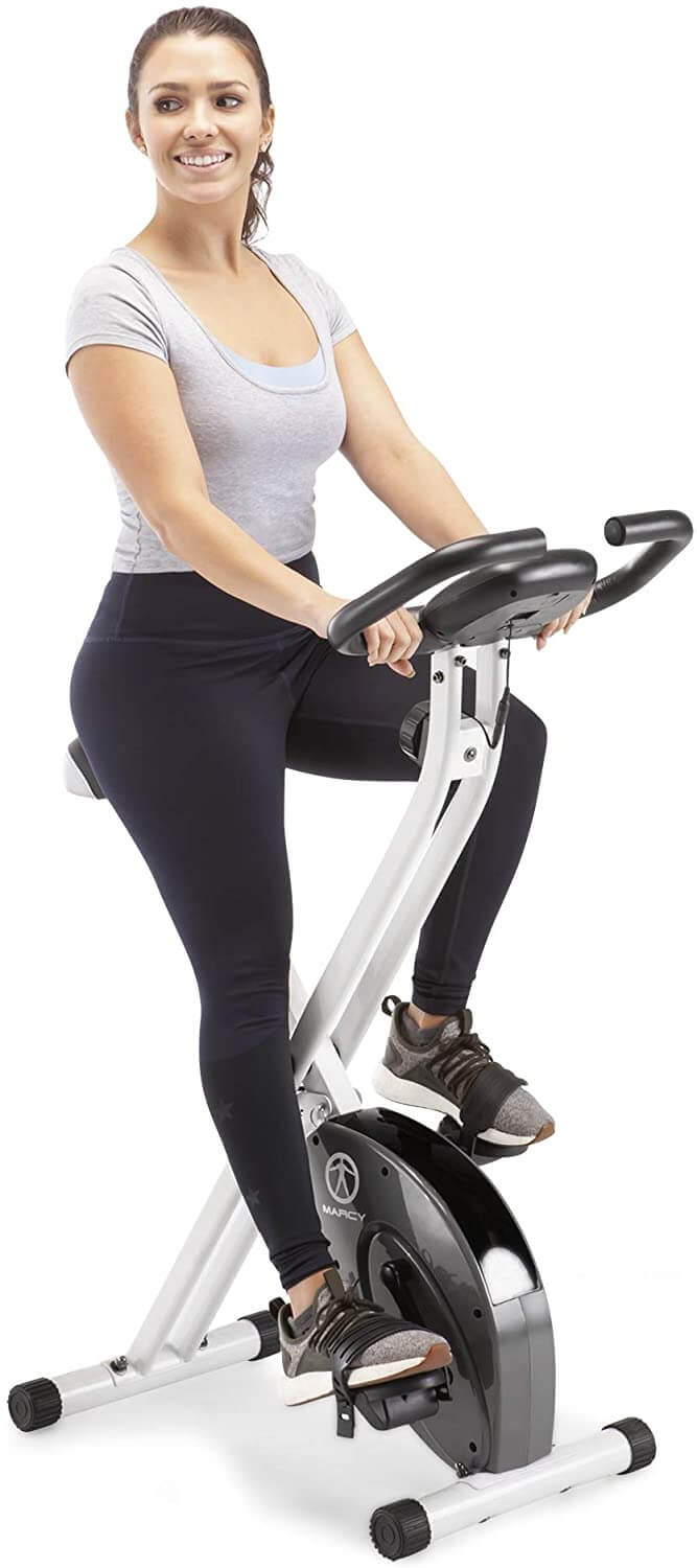 Marcy Foldable Upright Exercise Bike with Adjustable Resistance for Cardio Workout & Strength Training